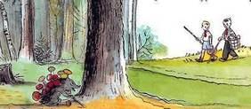 А Никита и Денис тоже решили сходить в лес за грибами.
