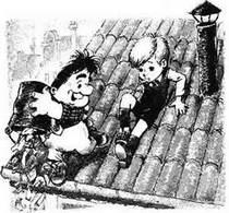 малыш и карлсон выбрасывает мусор из ведра с крыши