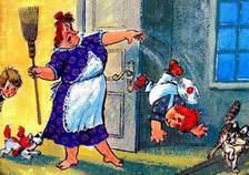 фрекен Бок вышвыривает карлсона за дверь