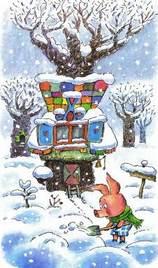 Пятачок у своего домика зима
