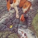Собака с куском мяса