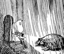 Муми-папа открыл дверь и увидел на пороге Ондатра