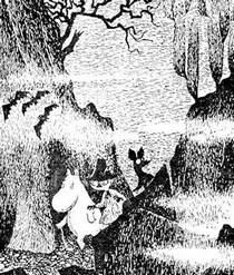 Муми-тролль Снифф и Снусмумрик идут в темноте