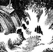 Муми-тролль снифф и Снусмумрик плывут на плоту попали в водопад