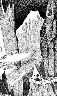 Снусмумрик и снифф сидят у обрыва скалы в горах