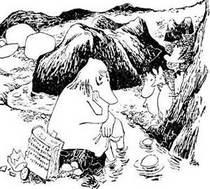 Муми-тролль Снусмумрик и Снифф увидели Хемуля сидящего на камне опустив ноги в воду