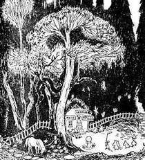 друзья пришли к большому дереву к домику