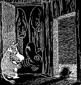 Муми-тролль в темной комнате