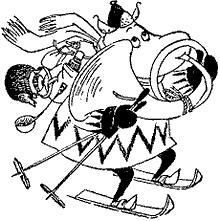 Муми-тролль на лыжах