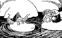 Муми-тролль в холодной воде снег