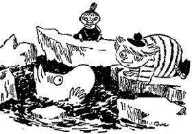 Муми-тролль в холодной воде между льдин