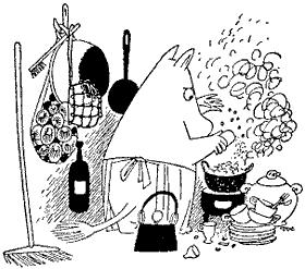Муми-мама моет посуду