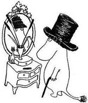 Муми-тролль примеряет у зеркала Шляпу волшебника