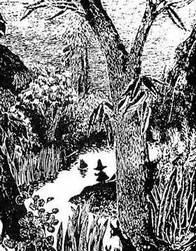 Муми-тролль и Снусмумрик ночью у реки