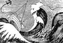 Муми-тролльс друзьями в лодке и огромный рыбий хвост