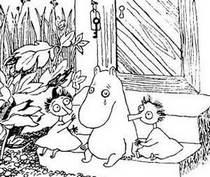 Муми-тролль на крыльце Тофсла и Вифсла