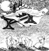 Муми-тролль и друзья обеденный стол улетел в небо