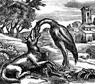 Басня Волк и журавль читать онлайн полностью, Жан де Лафонтен